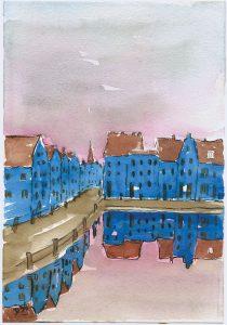 Kleine Stadt am Wasser