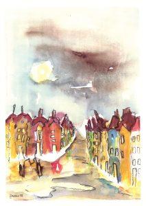 Kleine Straße im Regen