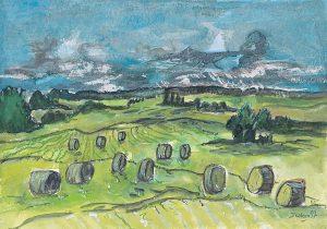 Landschaft mit Strohballen
