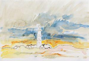 Leuchtturm im frühen Licht